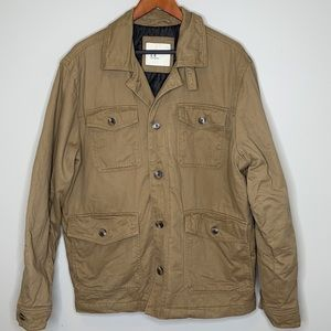 OLD NAVY tan buttoned barn lined utility jacket L